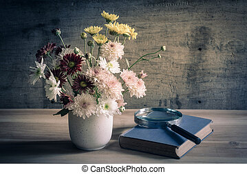 still life flowers - still life with flowers in vase and...