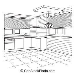 Sketch of a kitchen interior