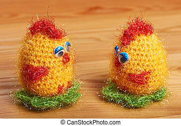 Crochet. Soft toy. Two chicken