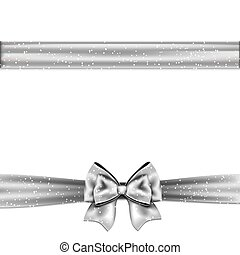 Silver satin bow on a white background
