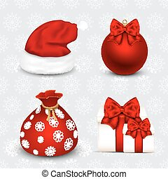 Set of realistic Christmas objects