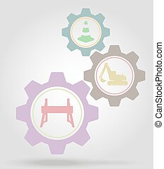 road works gear mechanism concept vector illustration...
