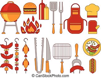 Barbecue Grill Icons Vector Illustratio Flat Style