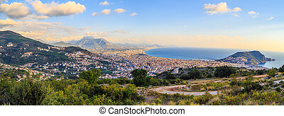 Day View of Alanya Castle - Panoramic view of peninsula in...