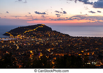 Night View of Alanya Castle - Night view of peninsula in...