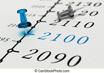 Year 2100 written on a paper with a blue pushpin, concept...