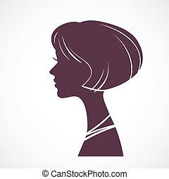 Girl silhouette head with beautiful stylized haircut