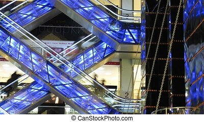 escalators and elevators, time lapse - Escalators and...