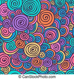 Abstract Colorful Hand Sketched Swirls Seamless Background...