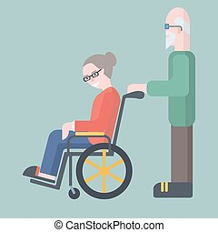 Old man take care of elderly woman on wheelchair vector...