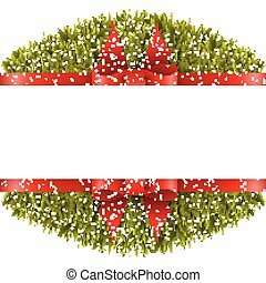 Christmas border with bow - Christmas border on a white...