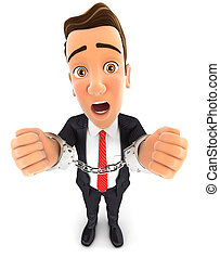 3d businessman handcuffed - 3d businessman with hand in...
