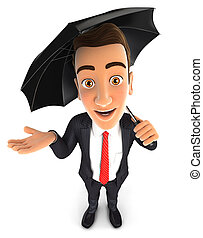 3d businessman with an umbrella, isolated white background