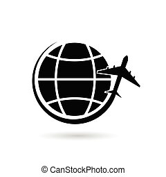 planet earth with airplane black vector silhouette