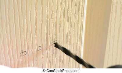 Mounting a mortise door lock. Drilling hole in a door -...