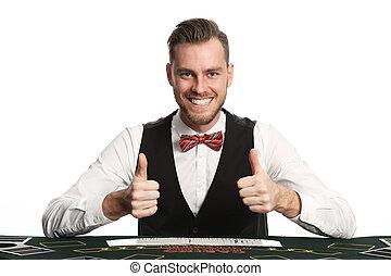 Black jack dealer in vest an bowtie - Crazy looking casino...