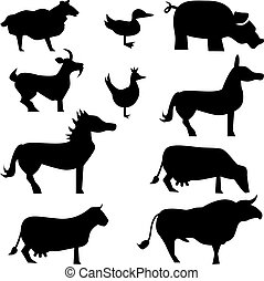Farm Animal Set - Farm animals isolated on a white...