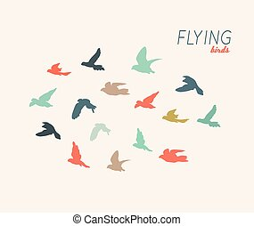 Retro silhouettes of flying birds, vector illustration