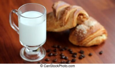 latte coffee with croissants - coffee latte with cinnamon...