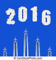Forward to the New Year 2016 - Flying airplanes on the blue...