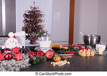 preparations for the christmas bakery in the kitchen
