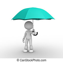 Umbrella - 3d people - man, person with a opened umbrella.