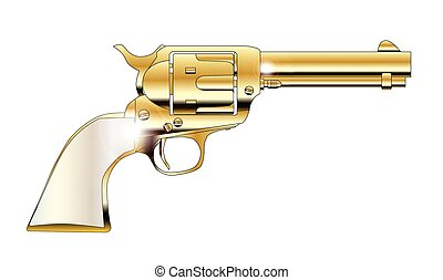 A Golden Revolver - Pear handles revolver in gold over white