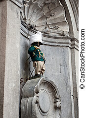 Manneken Pis dressed in uniform - BRUSSELS - OCTOBER 3:...