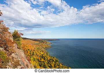 Colorful Lake Superior Shoreline with Dramatic Sky - Rugged...