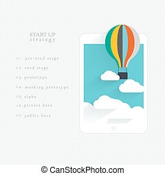 Flat vector design of the startup process,
