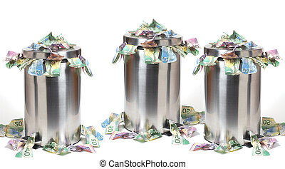 Inflation - Garbage cans overflowed with a lot of Canadian...