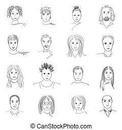 Doodle faces - Hand-drawn doodle faces of people of...