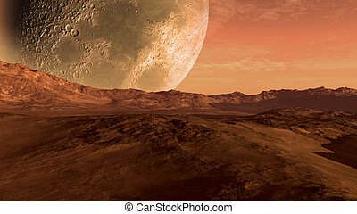 Mars like red planet with arid landscape, rocky hills and...