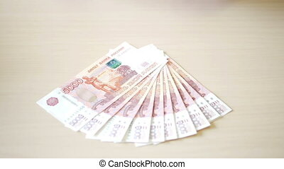 Rubles in hands Stack of money - Take the money in the hands...