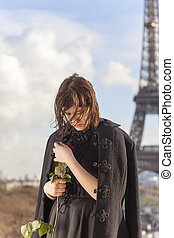 French woman with a rose