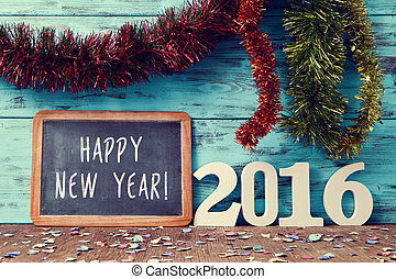 confetti, tinsel and text happy new year 2016 - tinsel of...