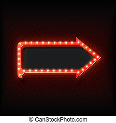 Volume retro arrow with lights - Retro arrow with glowing...