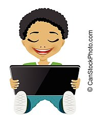 african american boy using digital tablet - portrait of cute...