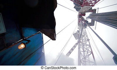 Oil Drilling rig hard work in winter