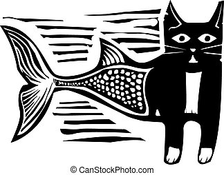Woodcut Catfish - Woodcut style image of a catfish mermaid