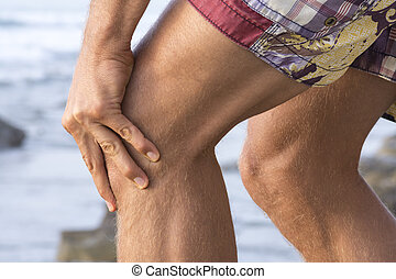Knee cap pain - Closeup of Caucasian mans knees wearing...