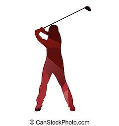 Golf man. Golfer red vector