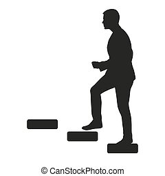 Businessman is going upstairs. Vector silhouette