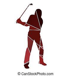Golf man. Golfer red vector silhouette