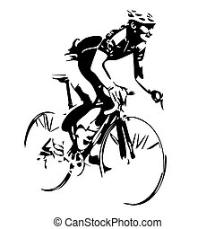 Cycling silhouette. Bicycle rider v