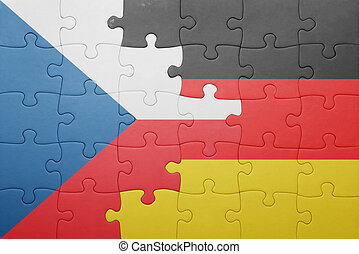 puzzle with the national flag of czech republic and germany