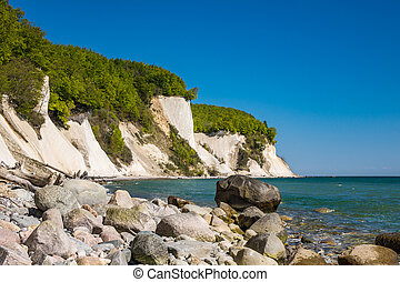 Chalk cliff on the island Ruegen in Germany.
