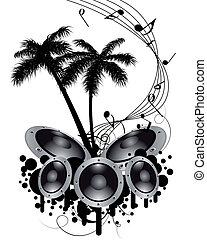 musical grunge background - Tropical grunge music background...
