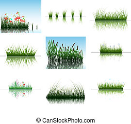 grass on water - Vector grass silhouettes backgrounds set...