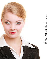 Portrait of young blond businesswoman